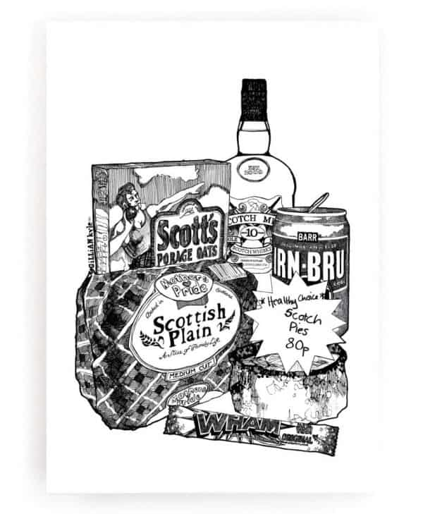 Wall Art Print with Scottish Breakfast Illustration