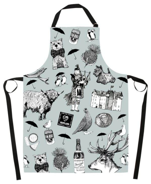 Kitchen Apron with Love Scotland Design by Gillian Kyle