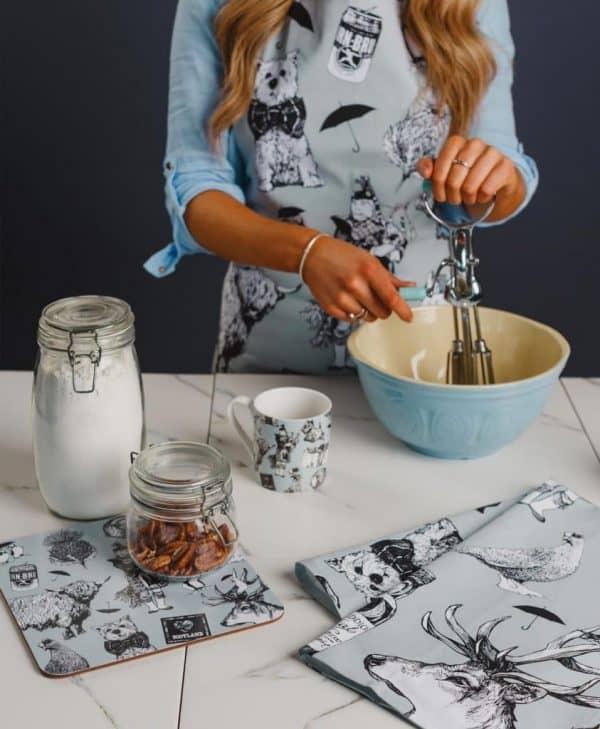 Kitchen Apron with Love Scotland Design by Gillian Kyle in Kitchen
