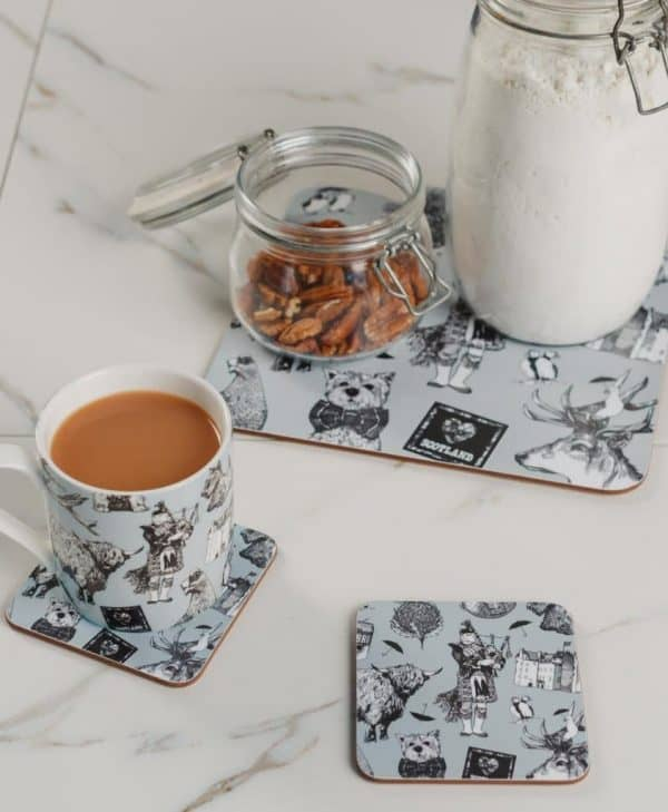 Drinks Coasters, Placemats and Mugs with Love Scotland Design