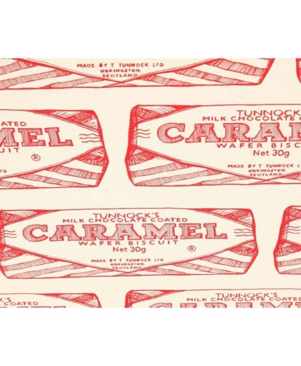 Kitchen Tea Towel with Tunnock's Caramel Wrapper Repeat illustration by Gillian Kyle (zoom)