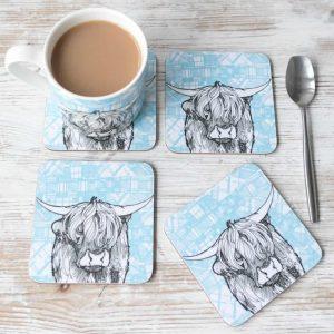 Gillian Kyle, Tartan Coo, Set Of 4, Melamine Coasters, Highland Cow