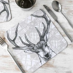 Gillian Kyle, Tartan Animals, Highland Stag Placemats with tartan background, Set of 2, Highland Stag