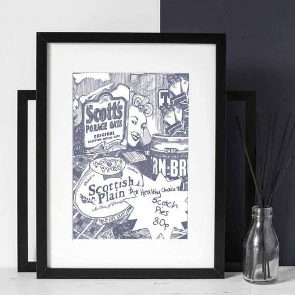 Gillian Kyle Scottish art gallery and canvas prints, Big Scottish Breakfast print, Scottish food and brands, irn-bru, porridge, tennents