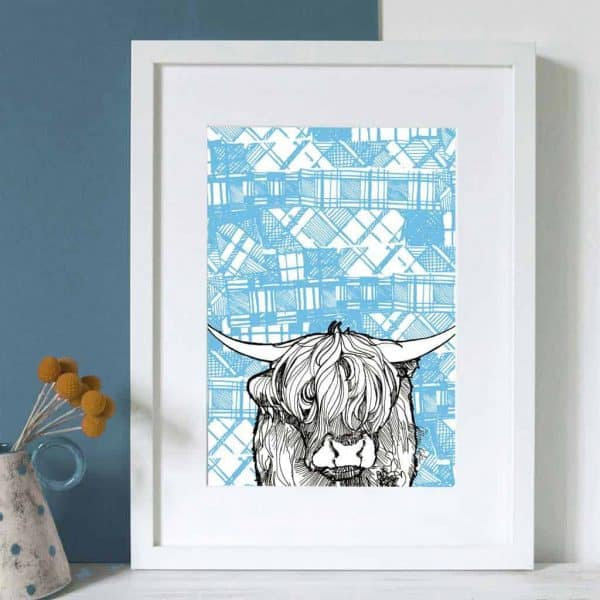 Gillian Kyle Scottish Art and Canvas prints Gallery, Tartan Animals Collection, Tartan Coo Print with highland cow and highland cattle