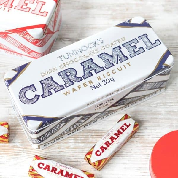 dark chocolate caramel wafer biscuit tin by Gillian Kyle