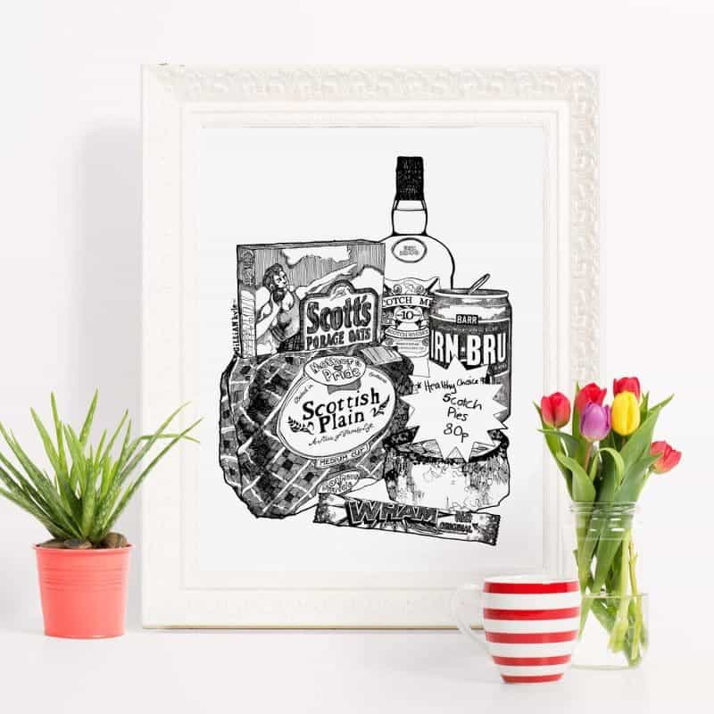 hand drawn illustration of iconic Scottish brands by Gillian Kyle