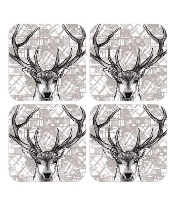 Gillian Kyle, tartan stag, set of 4, Scottish coasters, Scottish stag