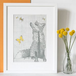 Gillian Kyle Scottish Art and Prints, Butterflies and Beasts Collection, Foxy Beasts Print with Fox Illustration