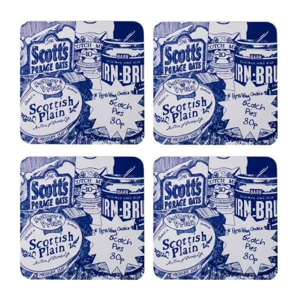 Scottish Breakfast design Scottish food drinks coasters featuring Irn-Bru, whisky and porridge by Gillian Kyle