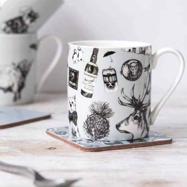 Love Scotland Scottish china mug by Gillian Kyle