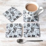 Love Scotland china mug and melamine coasters by Gillian Kyle