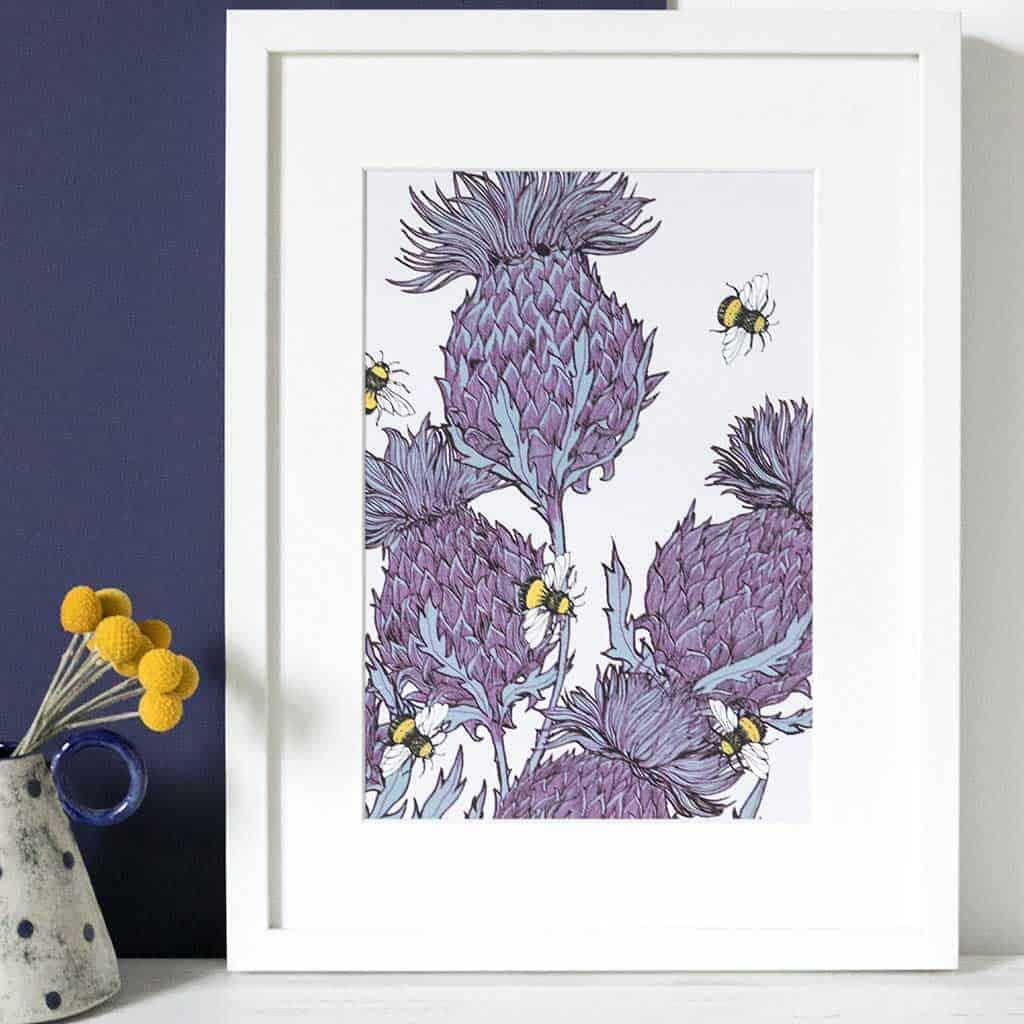 Gillian Kyle Scottish Art Canvas Prints Gallery, Scottish Thistles, Jaggy Thistles Print Lilac