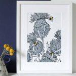 Gillian Kyle Scottish Art Canvas Prints Gallery, Scottish Thistles, Jaggy Thistles Print Silver