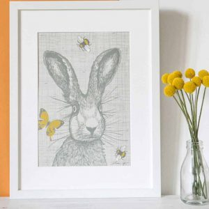 Gillian Kyle Scottish Art and Canvas Prints Gallery Scottish Wildlife collection, Hare Hair Print with hare, butterflies and bees