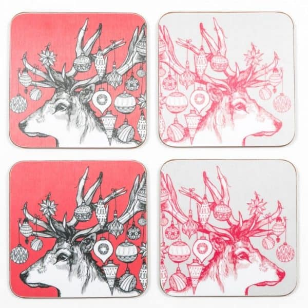 Gillian Kyle red Christmas coasters with Scottish Stag