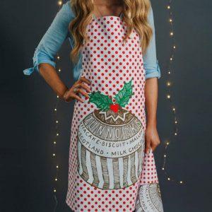 Gillian Kyle, Scottish tea towel, Scottish breakfast textiles, Scottish Tunnock's teakcake, christmas pudding print