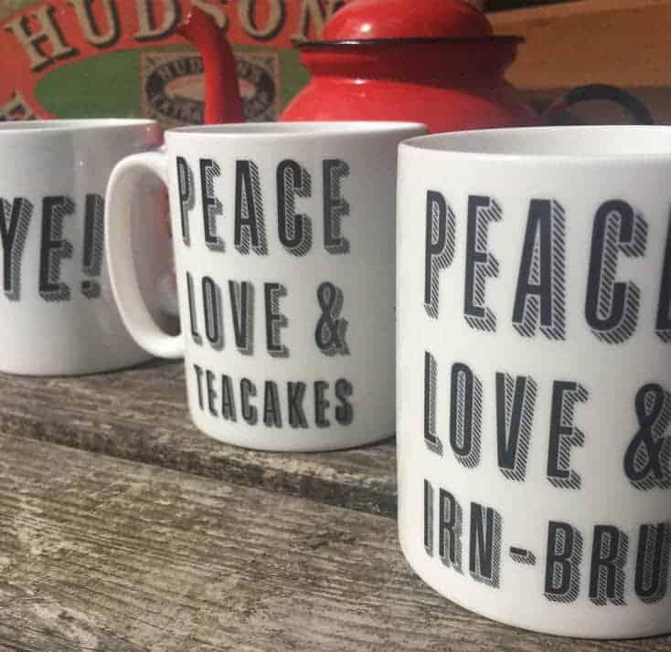 Gillian Kyle's Peace Love and Irn Bru Coffee Mug