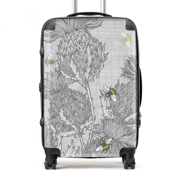 Scottish Thistle Suitcase in grey by Scottish artist Gillian Kyle