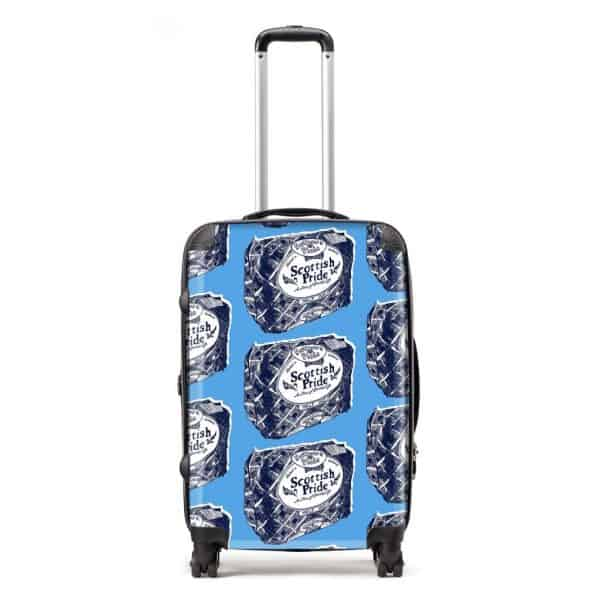 Scottish suitcase in Scottish Pride design by Gillian Kyle