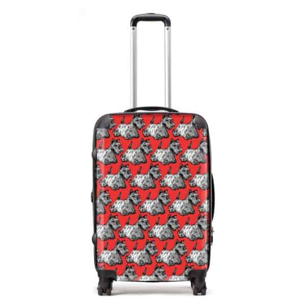 Red scotties suitcase by Gillian Kyle