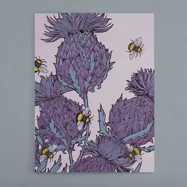 Gillian Kyle Scottish Art and Canvas Prints Gallery, Scottish Thistles, Jaggy Thistles Lilac