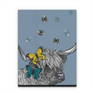 Gillian Kyle Scottish Art Canvas and Prints Gallery, Scottish Wildlife Art, Lola the Highland Cow canvas print