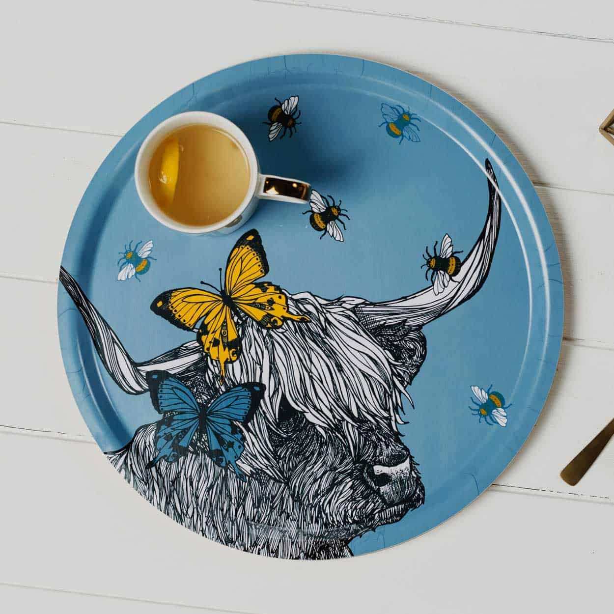 Beautiful Lola Highland Cow serving tray by Gillian Kyle