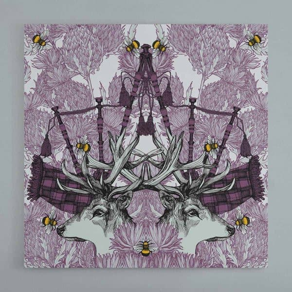 Gillian Kyle Scottish Art Collections Canvas Wall Art print with stags, thistles and bagpipes
