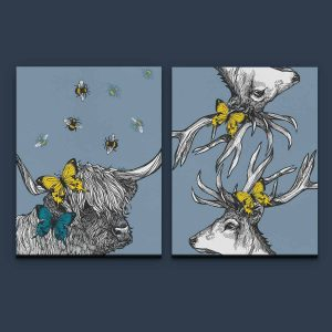 Gillian Kyle Scottish Art Canvas and Prints Gallery, Scottish Wildlife Art, Mr Stag Scottish Deer and Lola the Highland Cow pair of canvas prints