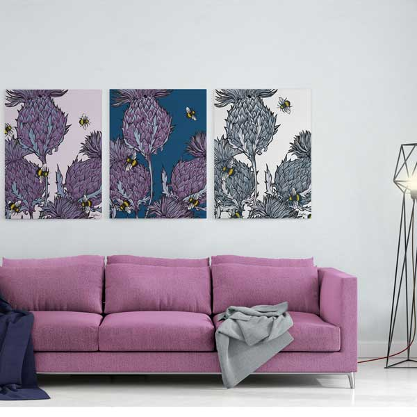 Set of 3 Jaggy Thistle Scottish Canvases