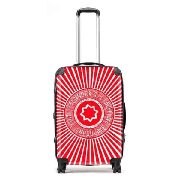 Suitcase in Tunnock's Teacake Wrapper design y Gillian Kyle