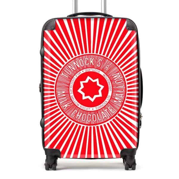 Tunnock's Tea Cake Wrapper suitcase in red by Gillian Kyle