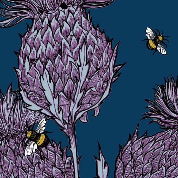 Indigo Thistles Suitcases by Gillian Kyle