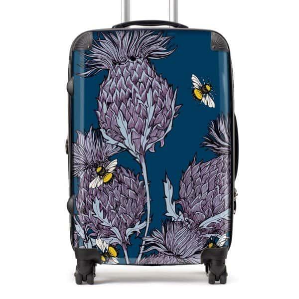 Scottish Thistle Suitcase in indigo