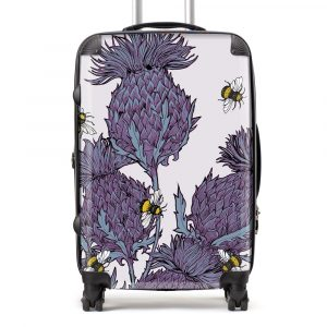 Scottish Thistle Suitcase in lilac by Scottish artist Gillian Kyle