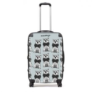 gillian kyle designer suitcase in Archie westie dog design