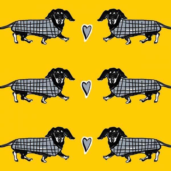 dashing hounds sausage dog dachshund luggage print by Gillian Kyle