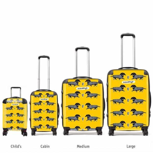 dashing hounds sausage dog dachshund print luggage by Gillian Kyle