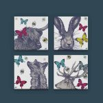 Gillian Kyle Scottish Canvas Print Art Gallery Butterflies and Bees Canvas Collection with hare, fox, stag and highland cow