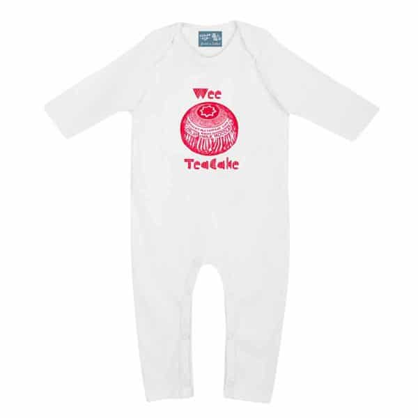 Gillian Kyle, Scottish baby clothing, Scottish baby gift, organic cotton, baby romper sleepsuit, Scottish quirky teacake design