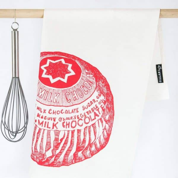 Kitchen Tea Towel with Tunnock's Teacake illustration by Gillian Kyle