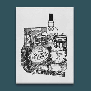 Gillian Kyle Scottish Canvas Print Art Gallery, Scottish Food, Scottish Breakfast Canvas in monochrome with Irn-Bru, Porridge oats, plain loaf and scotch pie