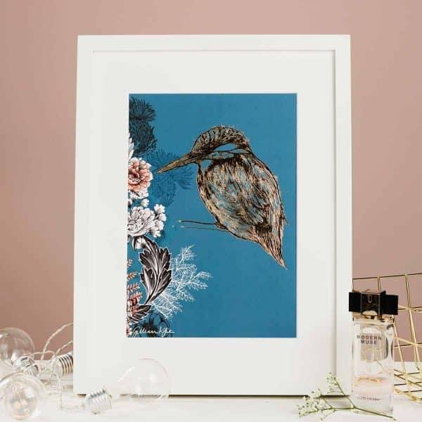 Flights of Fancy Scottish Wildlife Prints by Gillian Kyle, Kingfisher Floral Foil Print