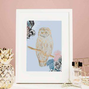 Flights of Fancy Scottish Wildlife Prints by Gillian Kyle, Ornate Owl Foil Print