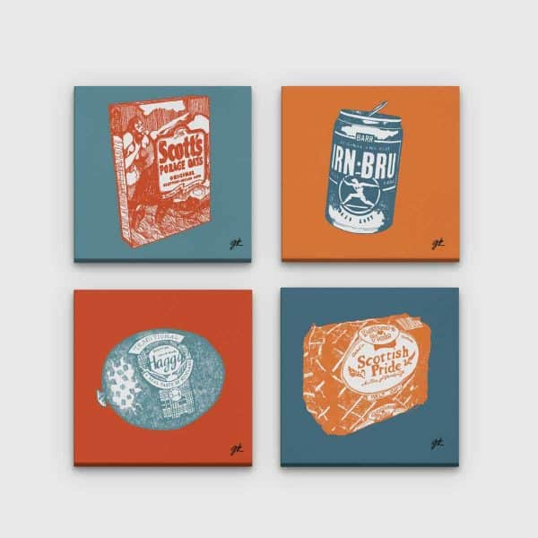 Gillian Kyle Scottish Canvas Prints Art Gallery, Scottish Food Canvas Print Collection in orange and teal, Porridge, Haggis, Irn-Bru, Mothers Pride