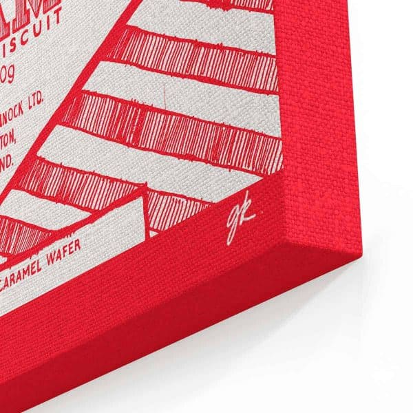 Tunnock's canvas collection by gillian Kyle featuring Tunnock's teacake and Tunnock's Caramel wafer prints corner detail
