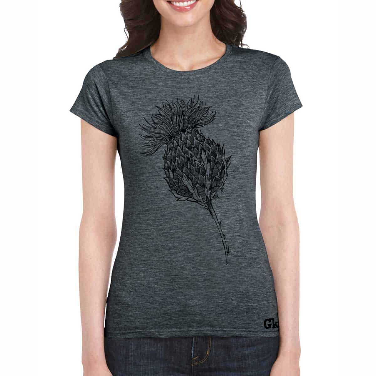 Women's Scottish Thistle t-shirt in charcoal by Gillian Kyle