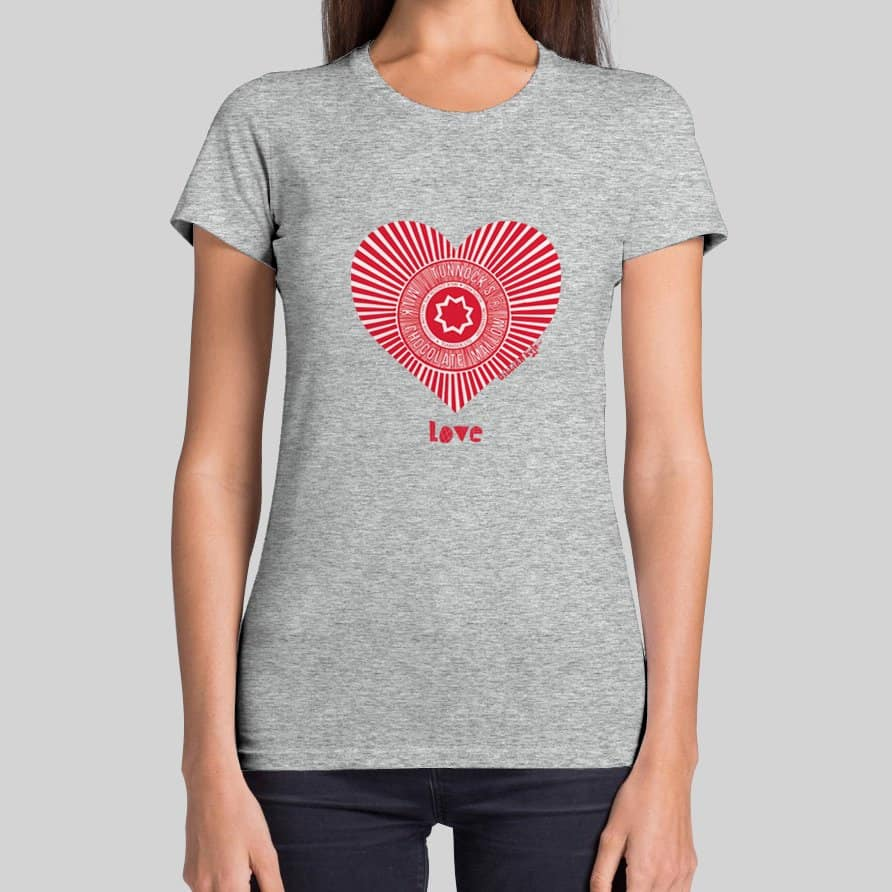 Love Tunnock's Women's T-shirt in grey by Gillian Kyle