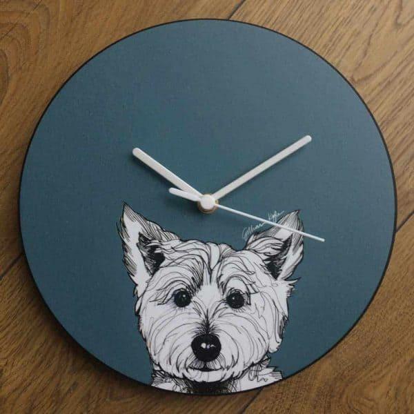 Scottish West Highland Terrier Westie Dog Wall Clock in red by Scottish designer Gillian Kyle